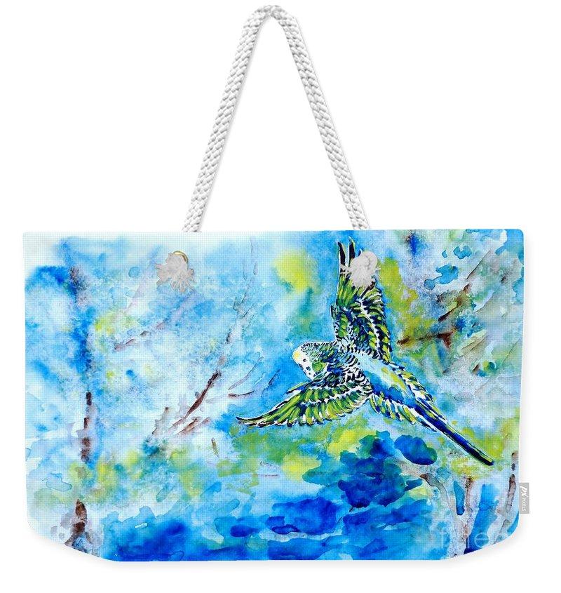 Budgerigar Weekender Tote Bag featuring the painting Free by Zaira Dzhaubaeva