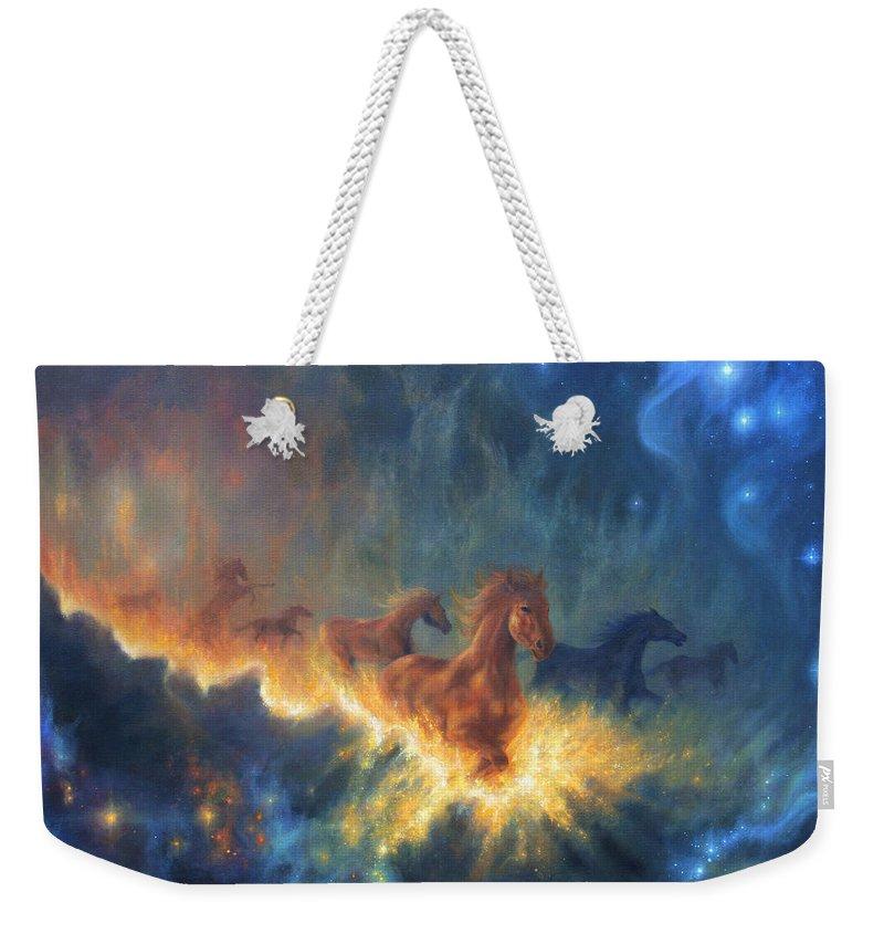 Freedom Of Dreaming Weekender Tote Bag featuring the painting Freedom Of Dreaming by Lucy West