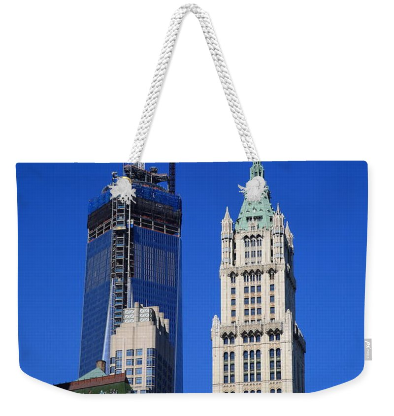 Architecture Weekender Tote Bag featuring the photograph Freedom Tower And Woolworth Building by Frank Romeo