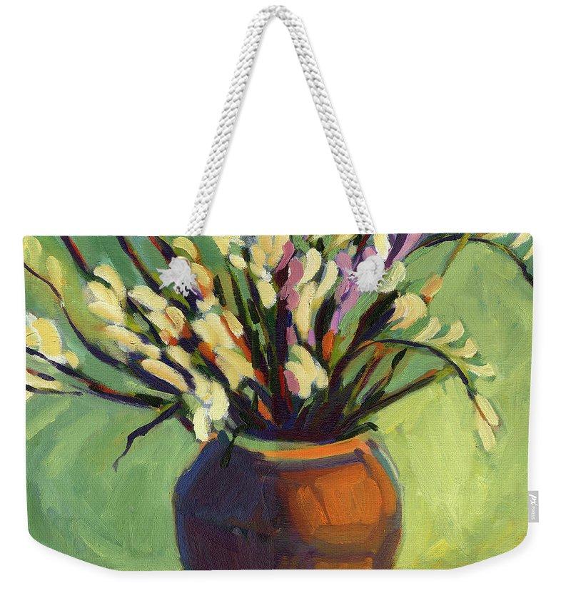 Freesias Weekender Tote Bag featuring the painting Freesias by Konnie Kim