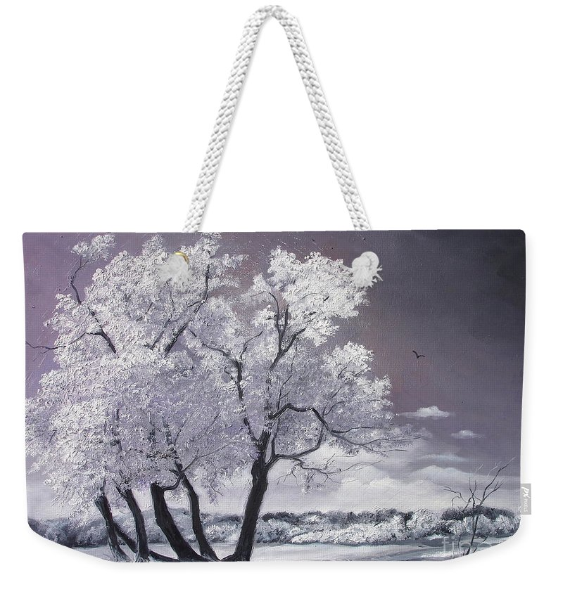 Winter Weekender Tote Bag featuring the painting Freeze by Sorin Apostolescu
