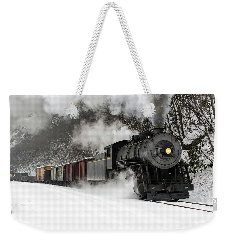 Scenics Weekender Tote Bag featuring the photograph Freight Train With Steam Locomotive by Catnap72