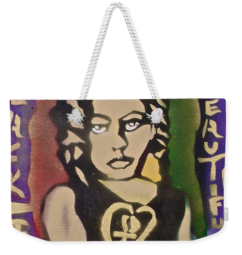 Black Weekender Tote Bag featuring the painting French Braided 1 by Tony B Conscious