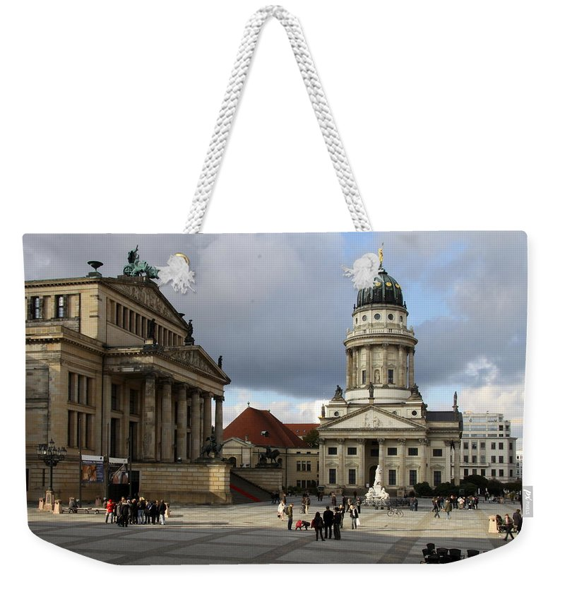 Cathedral Weekender Tote Bag featuring the photograph French Cathedral And Concert Hall - Berlin by Christiane Schulze Art And Photography