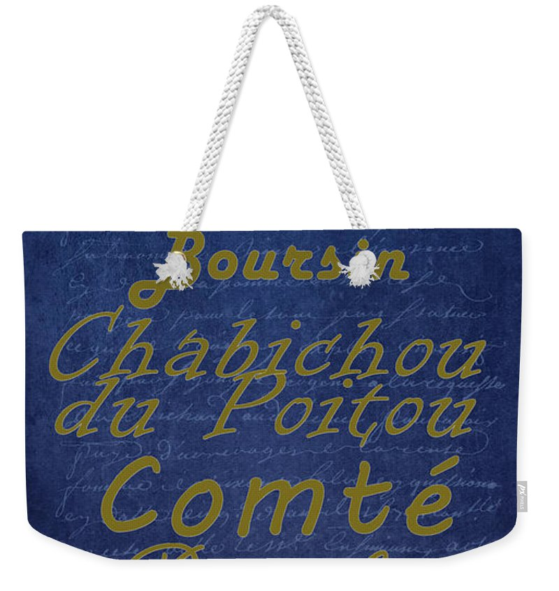 Feature Weekender Tote Bag featuring the digital art French Cheeses - 2 by Paulette B Wright