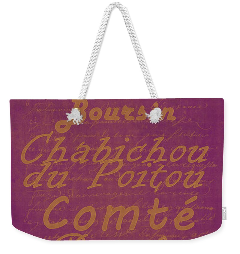 Feature Weekender Tote Bag featuring the digital art French Cheeses - 3 by Paulette B Wright