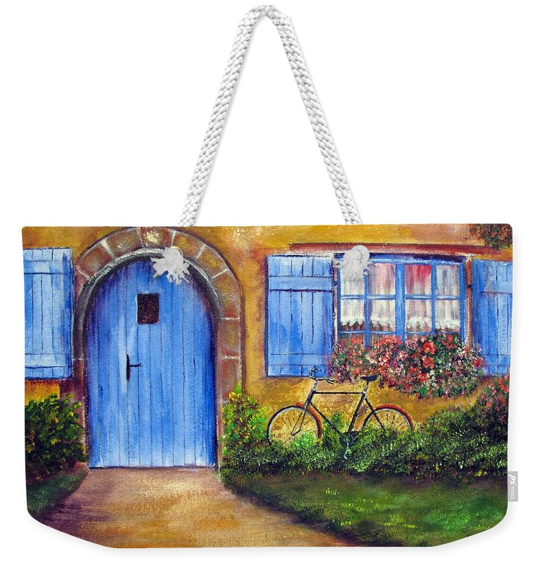 French Weekender Tote Bag featuring the painting French Cottage by Loretta Luglio