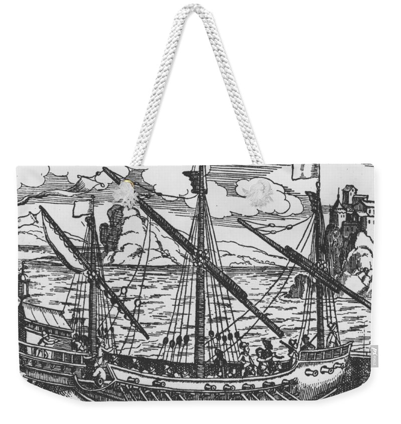 Ship; Oar; Oars; Sail; Sails; Crew; Sea; Eastern Mediterranean; Trade; Port; Trading; Mast; Masts; Seaport; Seaports; Vessel; Woodcut; Engraving Weekender Tote Bag featuring the drawing French Galley Operating In The Ports Of The Levant Since Louis Xi by French School