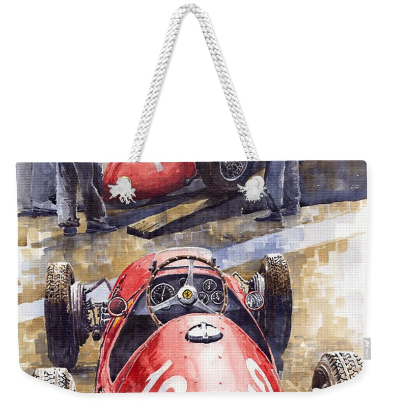 Watercolour Weekender Tote Bag featuring the painting French Gp 1952 Ferrari 500 F2 by Yuriy Shevchuk