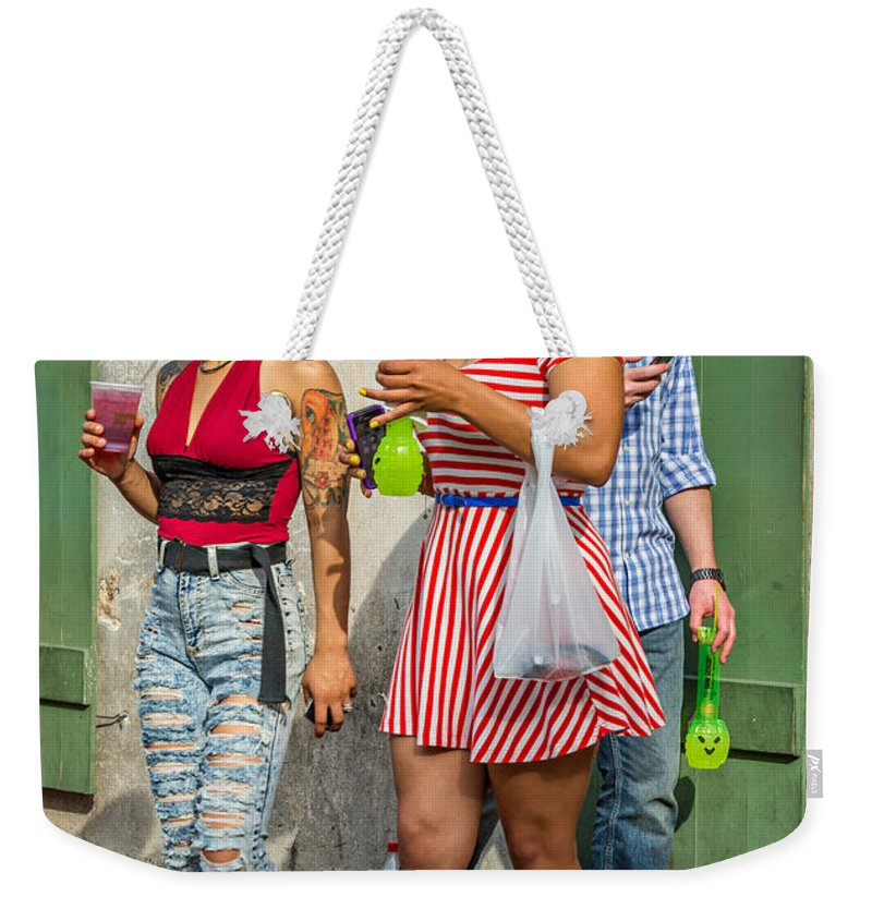 French Quarter Weekender Tote Bag featuring the photograph French Quarter - Party Time by Steve Harrington