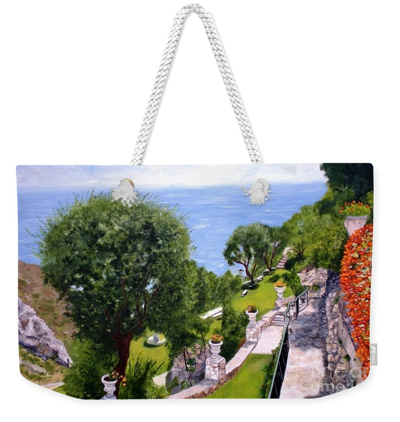 Landscape Weekender Tote Bag featuring the painting French Riviera by Graciela Castro