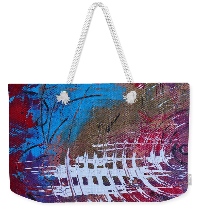Static Weekender Tote Bag featuring the painting Frequency Static by Donna Blackhall
