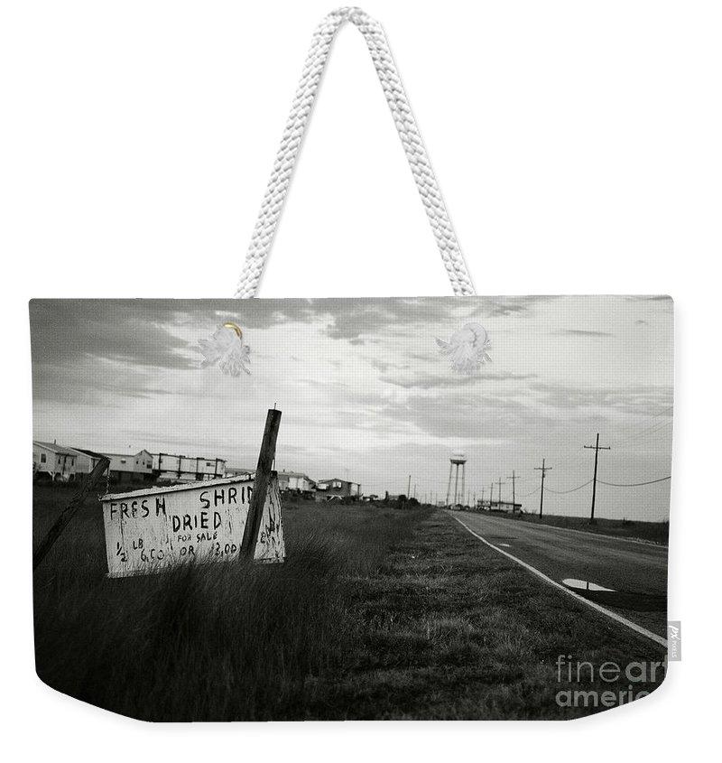 B&w Weekender Tote Bag featuring the photograph Fresh Shrimp by Scott Pellegrin