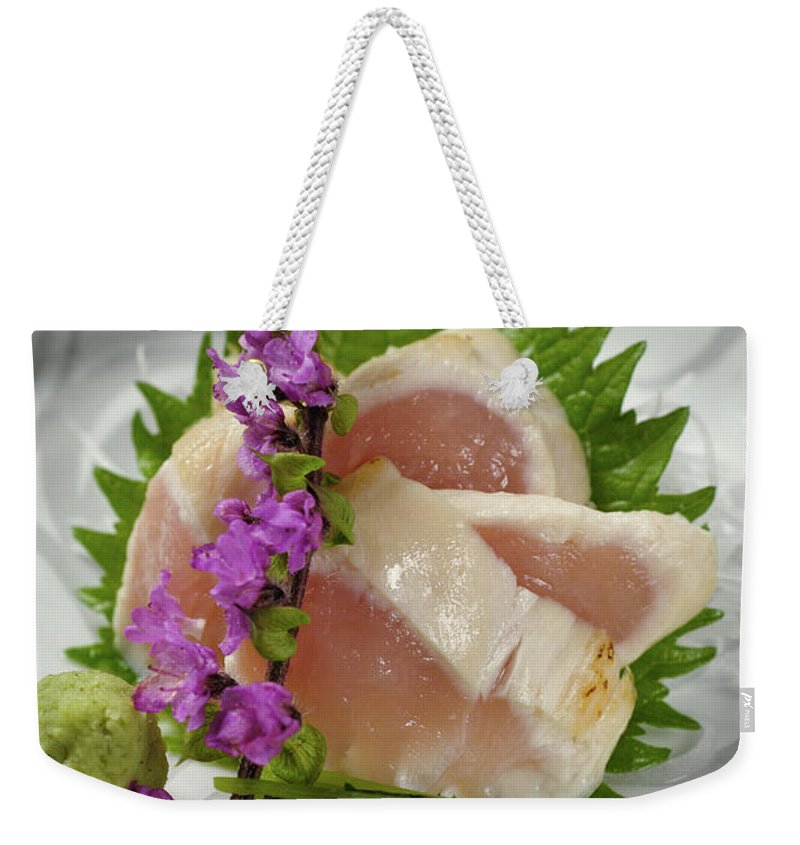 Japanese Food Weekender Tote Bag featuring the photograph Fresh Slices Of The Bird Of by Ryouchin
