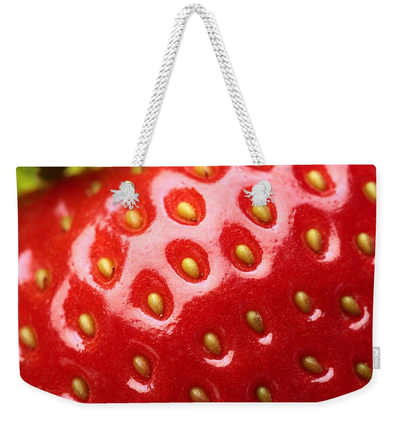 Strawberry Weekender Tote Bag featuring the photograph Fresh Strawberry Close-up by Johan Swanepoel