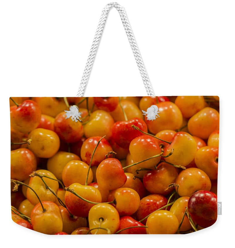 Cherry Weekender Tote Bag featuring the photograph Fresh Yellow Cherries by Scott Campbell