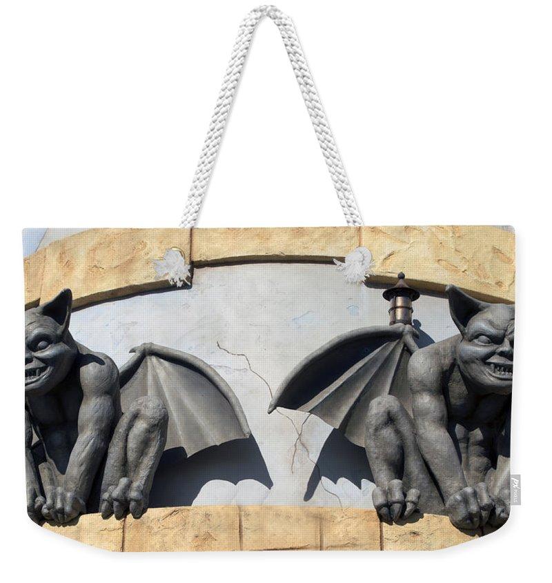 Darkness Weekender Tote Bag featuring the digital art Frick And Frack Santa Cruz Gargoyles by Barbara Snyder