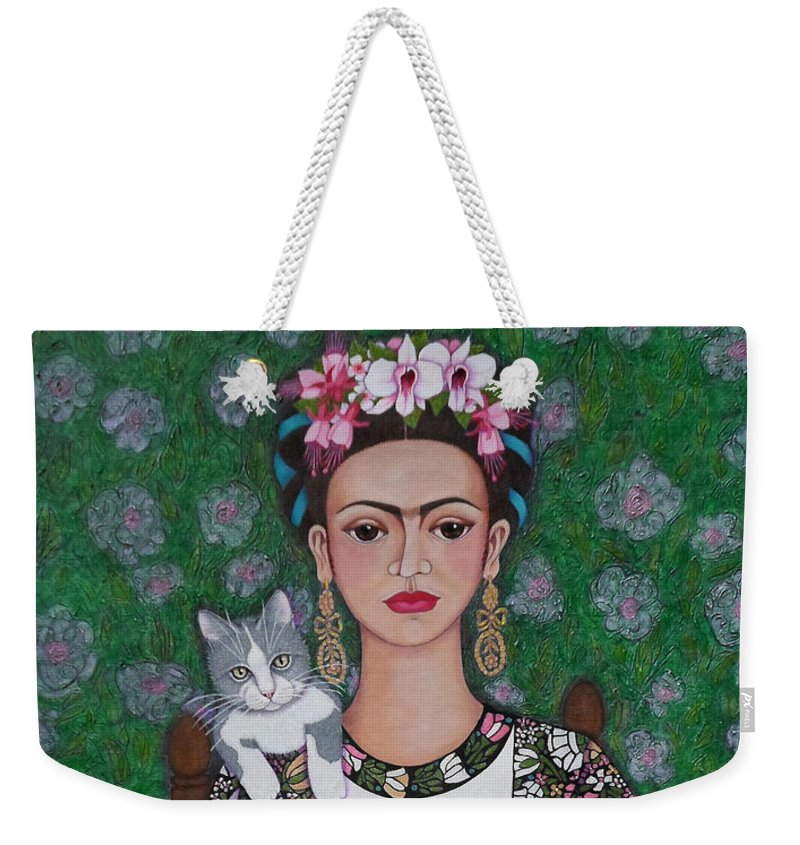 Frida Weekender Tote Bag featuring the painting Frida Cat Lover by Madalena Lobao-Tello