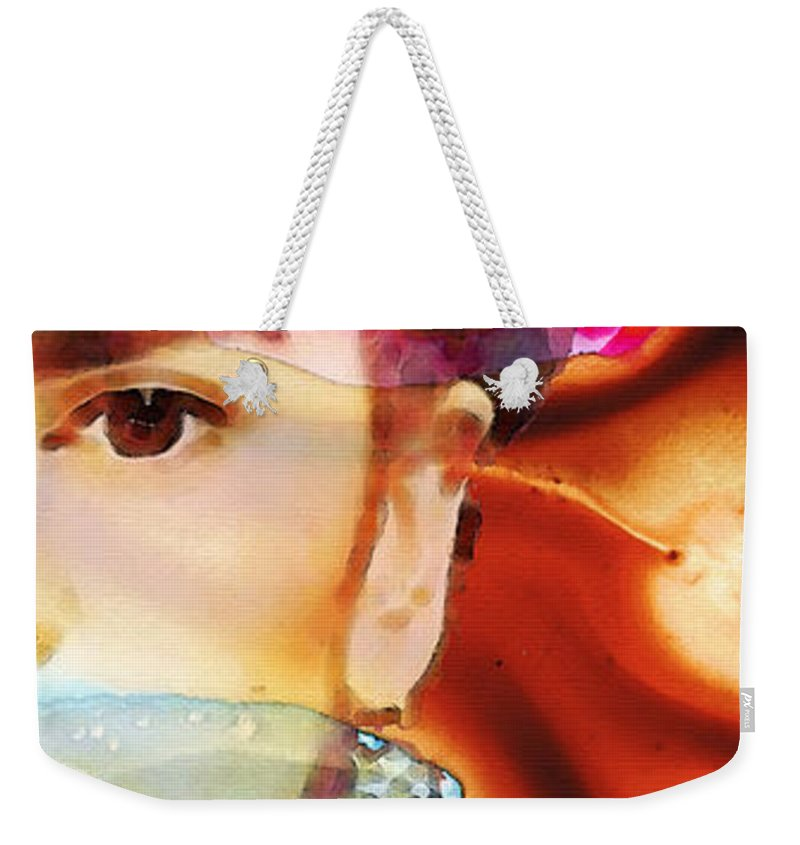 Frida Kahlo Weekender Tote Bag featuring the painting Frida Kahlo Art - Seeing Color by Sharon Cummings