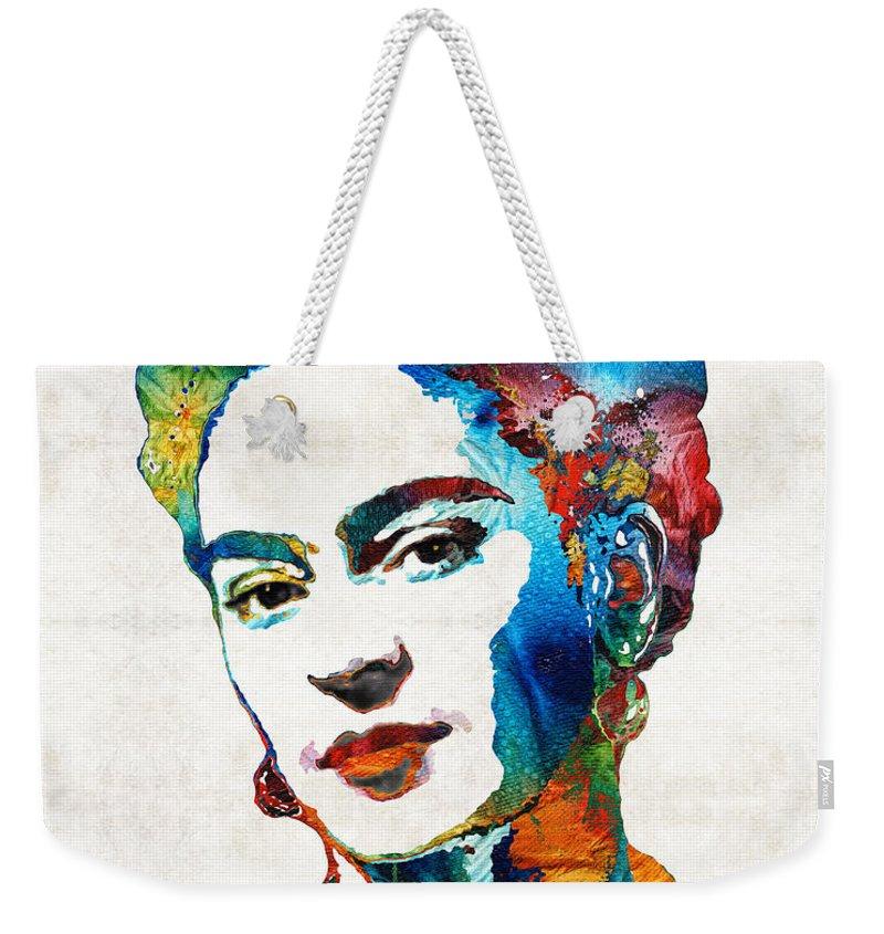 Frida Kahlo Weekender Tote Bag featuring the painting Frida Kahlo Art - Viva La Frida - By Sharon Cummings by Sharon Cummings