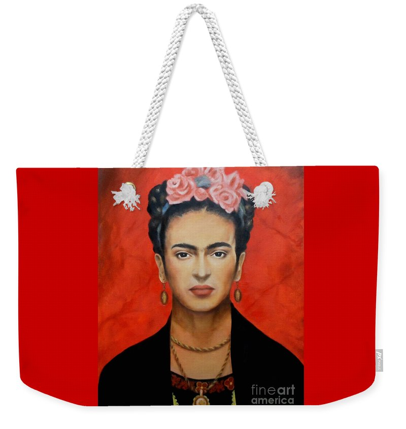 Frida Weekender Tote Bag featuring the painting Frida Kahlo by Yelena Day