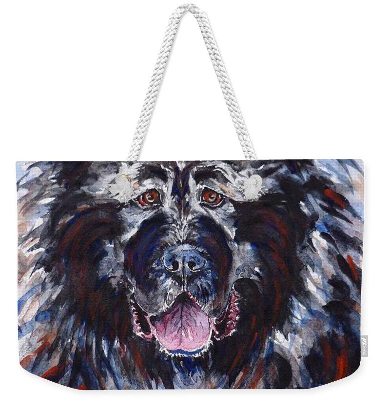 caucasian Shepherd Dog Weekender Tote Bag featuring the painting Friend by Zaira Dzhaubaeva