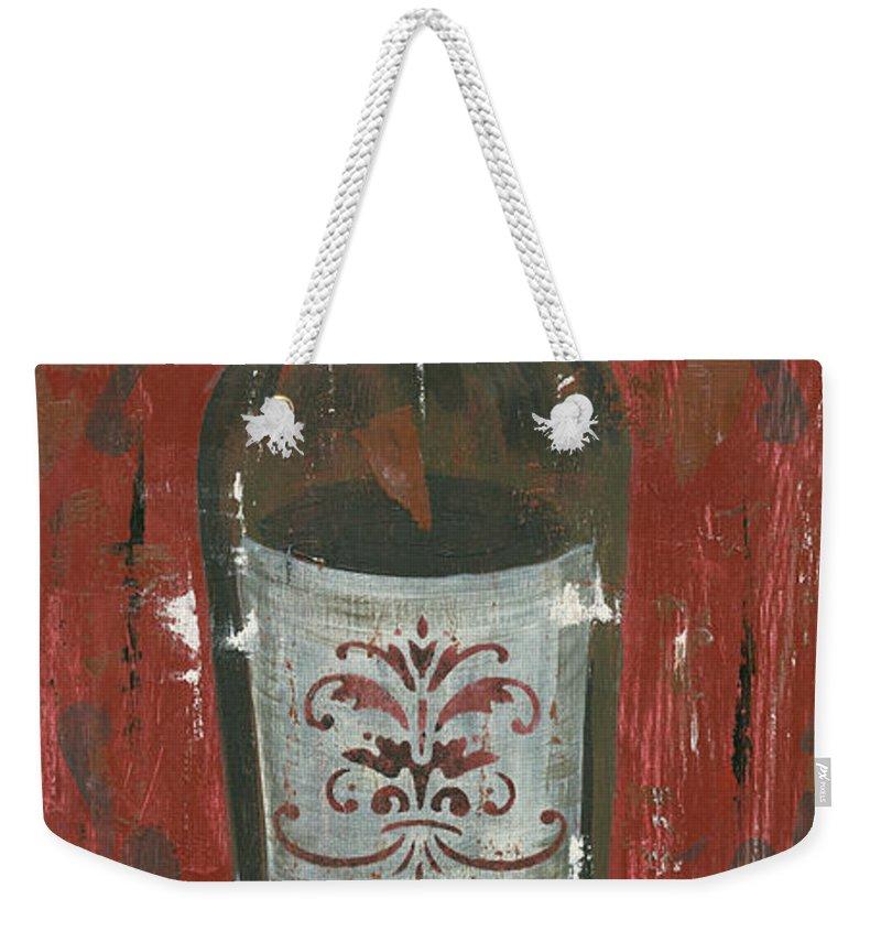 Wine Weekender Tote Bag featuring the painting Friendships Like Wine by Debbie DeWitt