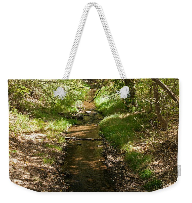 Afternoon Weekender Tote Bag featuring the photograph Frijole Creek Bandelier National Monument by Fred Stearns