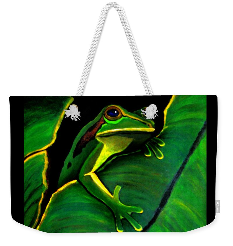 Frog Weekender Tote Bag featuring the painting Frog And Leaf by Nick Gustafson