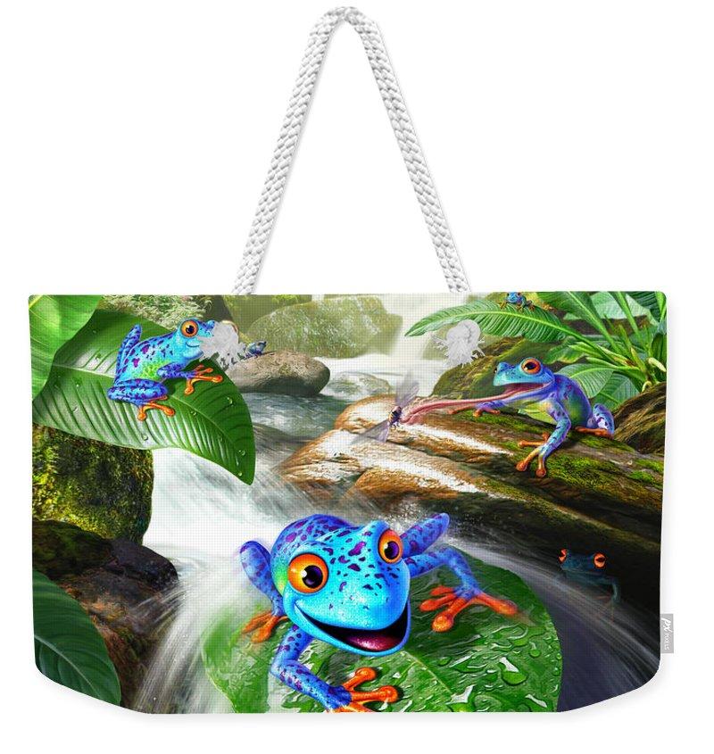 Frogs Weekender Tote Bag featuring the digital art Frog Capades by Jerry LoFaro