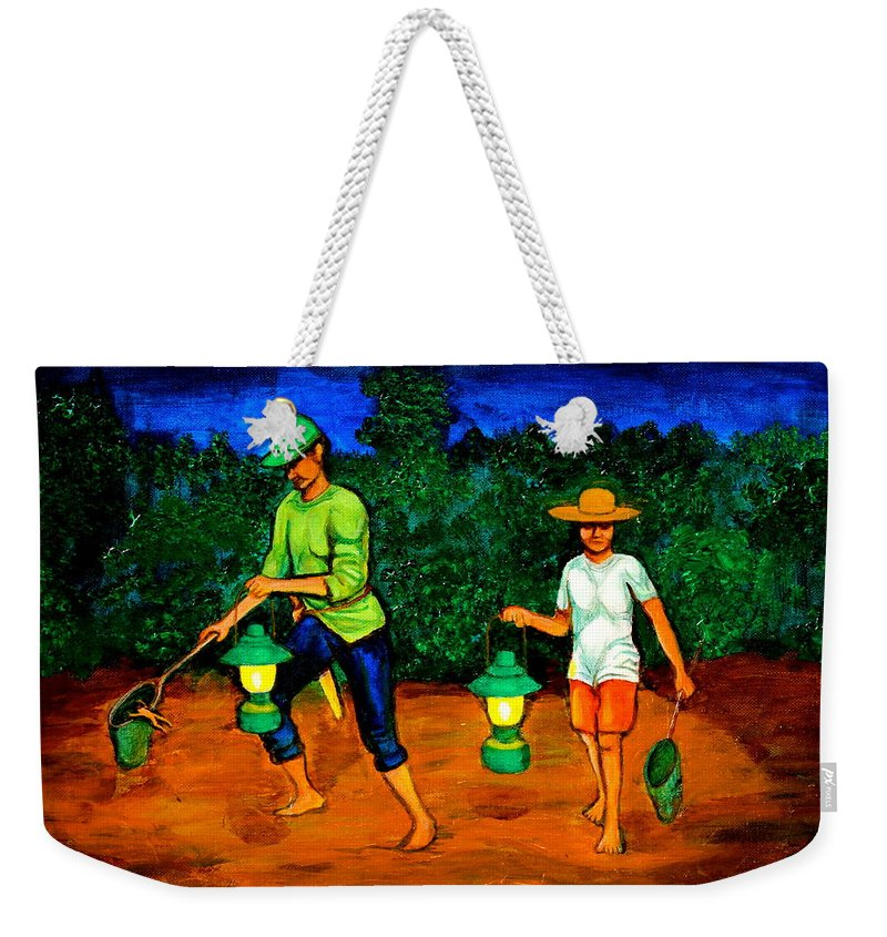 Frog Hunters Weekender Tote Bag featuring the painting Frog Hunters by Cyril Maza