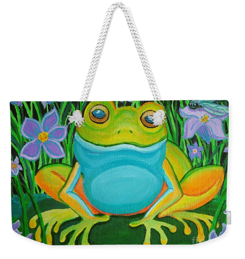 Ffrog Art Weekender Tote Bag featuring the painting Frog On A Lily Pad by Nick Gustafson