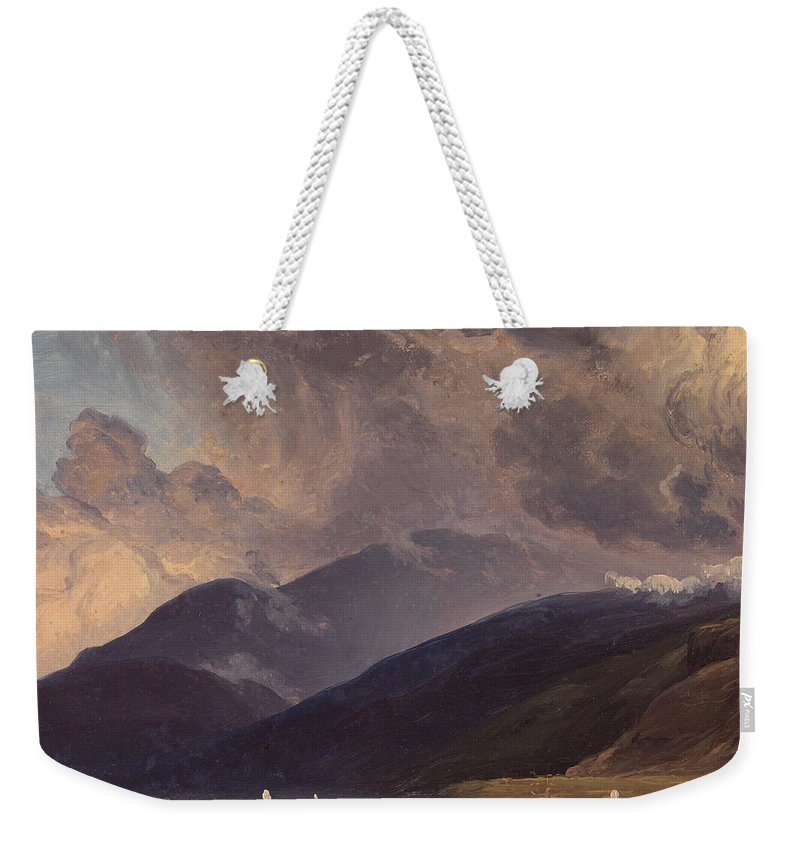 Thomas Fearnley Weekender Tote Bag featuring the painting From Balestrand At The Sognefjord by Thomas Fearnley