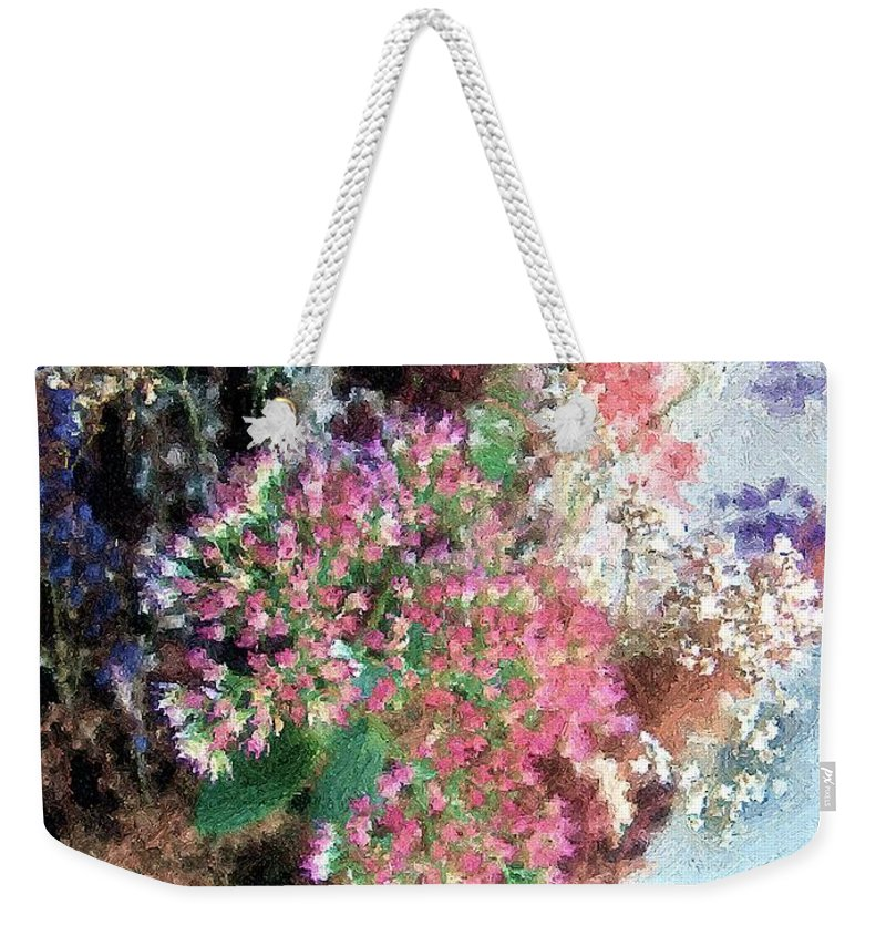 Flowers Weekender Tote Bag featuring the painting From Her Secret Admirer by RC DeWinter