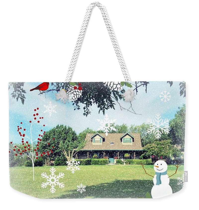 Christmas Weekender Tote Bag featuring the photograph From Our House To Yours by Robert ONeil