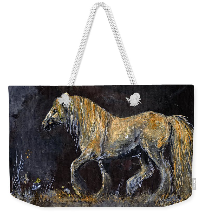 Shire Horse Weekender Tote Bag featuring the painting From The Darkness by Angel Ciesniarska