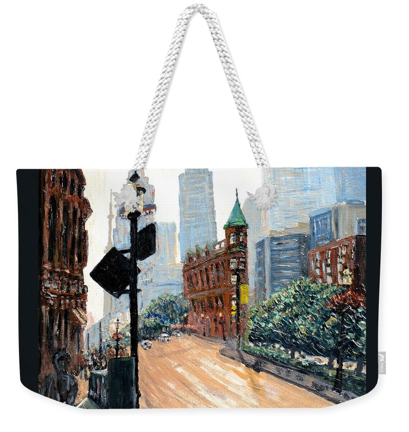 Toronto Weekender Tote Bag featuring the painting Front And Church by Ian MacDonald