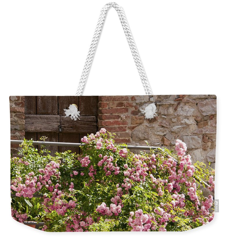 Pesciano Italy Village Villages And Doors Door Flower Flowers Texture Textures Entrance Entrances City Cities Cityscape Cityscapes Dwelling Dwellings House Houses Home Homes Plant Plants Architecture Landscape Landscapes Weekender Tote Bag featuring the photograph Front Door by Bob Phillips