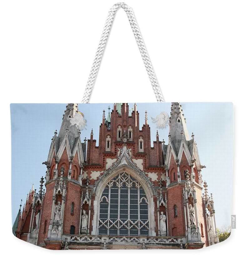 St Joseph's Church Weekender Tote Bag featuring the photograph Front Entrance To St Joseph Church Krakow by Deborah Benbrook