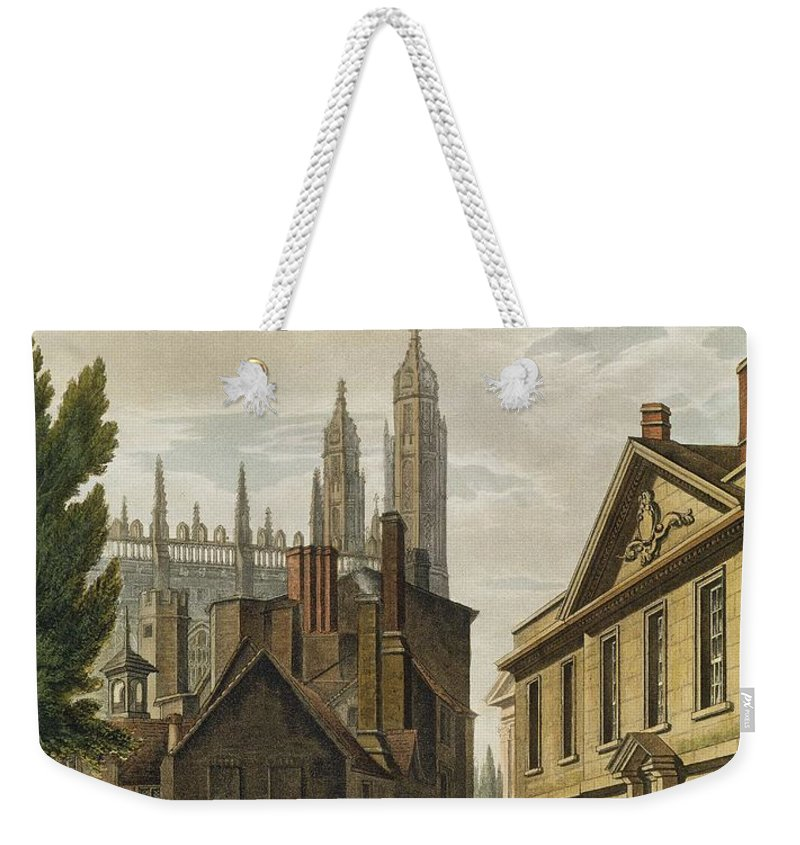 Architecture Weekender Tote Bag featuring the drawing Front Of Trinity Hall, Cambridge by Augustus Charles Pugin
