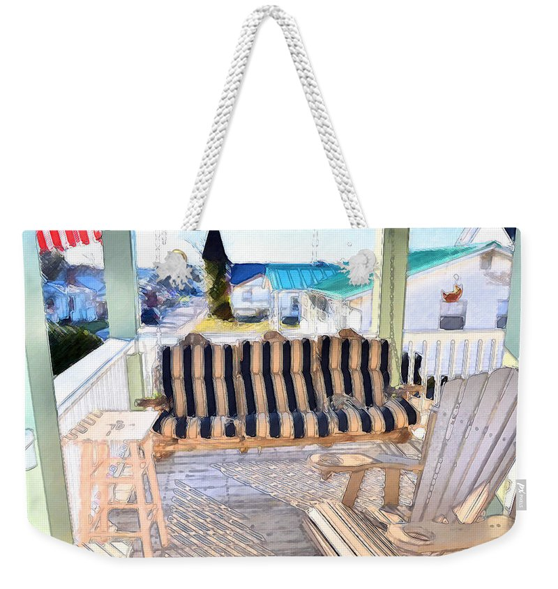 American Weekender Tote Bag featuring the painting Front Porch On An Old Country House 3 by Jeelan Clark