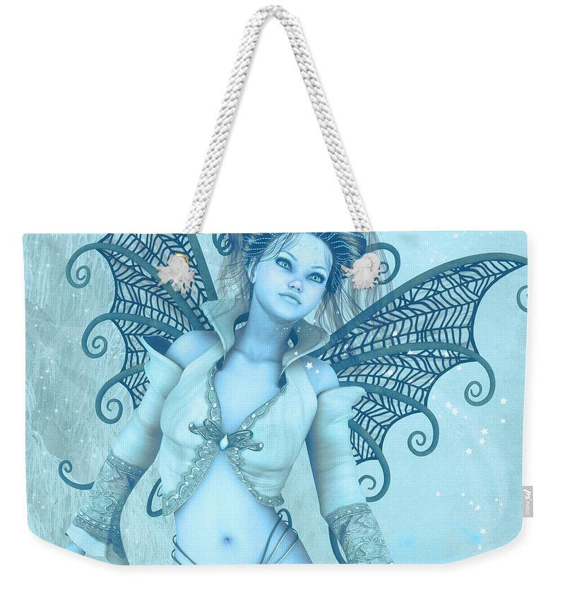 3d Weekender Tote Bag featuring the digital art Frost Fairy by Jutta Maria Pusl