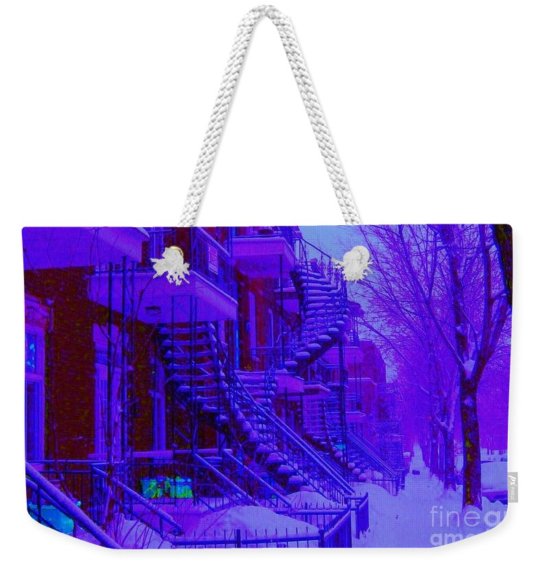 Montreal Weekender Tote Bag featuring the photograph Frost On Winding Staircases by Carole Spandau