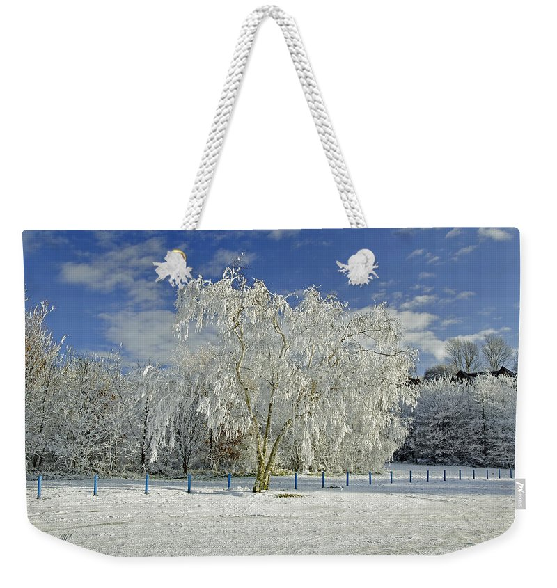 Burton On Trent Weekender Tote Bag featuring the photograph Frosted Trees - Newton Road Park by Rod Johnson