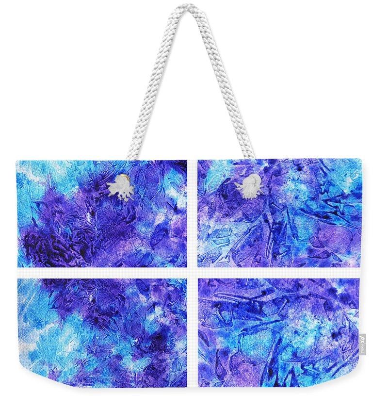 Frosted Weekender Tote Bag featuring the painting Frosted Window Abstract Collage by Irina Sztukowski