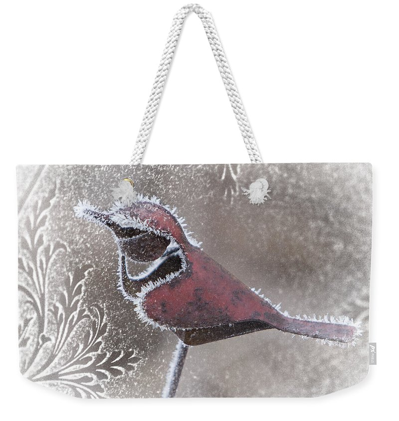 Cardinal Weekender Tote Bag featuring the photograph Frosty Cardinal by Patti Deters