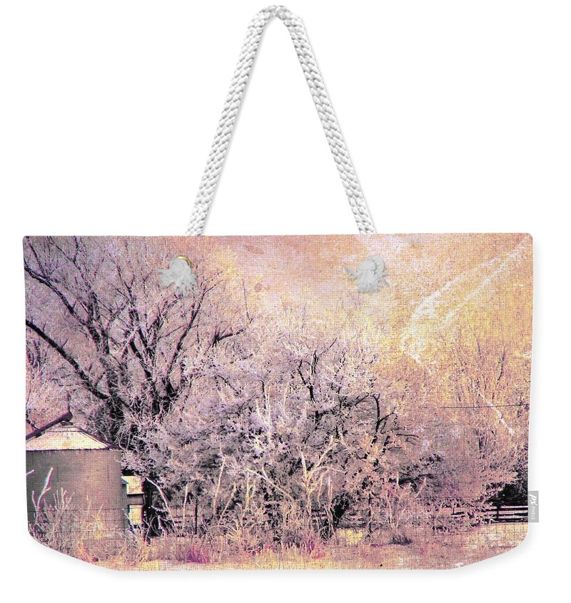 Rural Weekender Tote Bag featuring the digital art Frosty Farm by Cassie Peters
