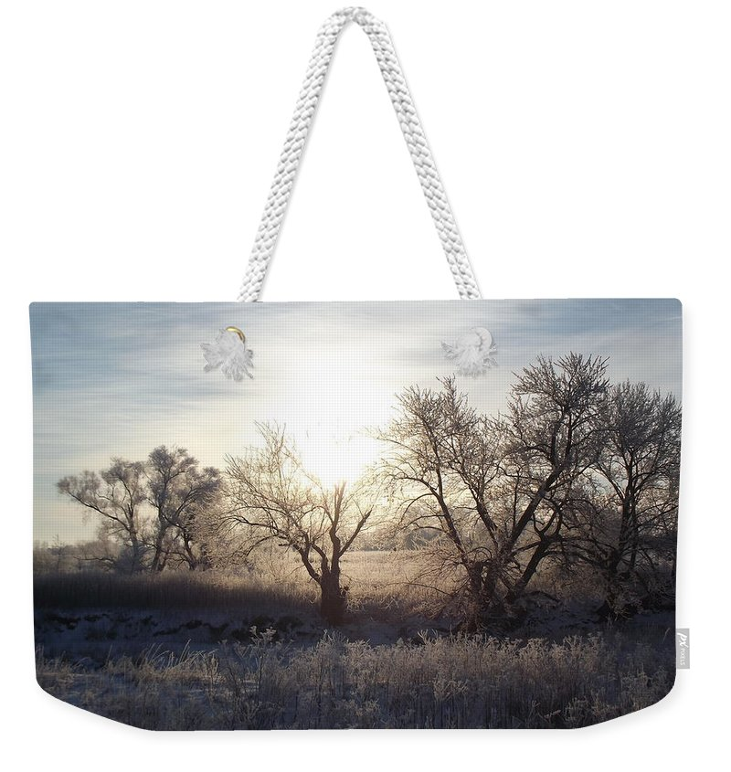 Frost Weekender Tote Bag featuring the photograph Frosty Rise by Bonfire Photography
