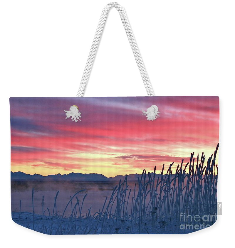 Sky Weekender Tote Bag featuring the photograph Frosty Winter Sunrise by Rick Monyahan