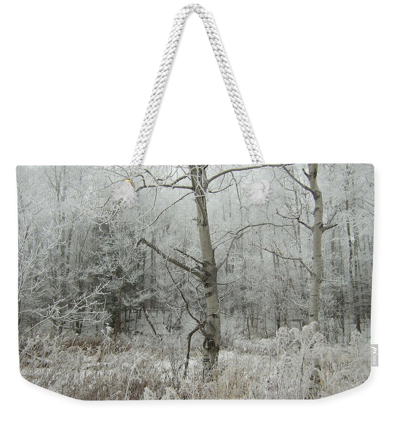 Weekender Tote Bag featuring the photograph Frosty Wonderland by Katerina Naumenko